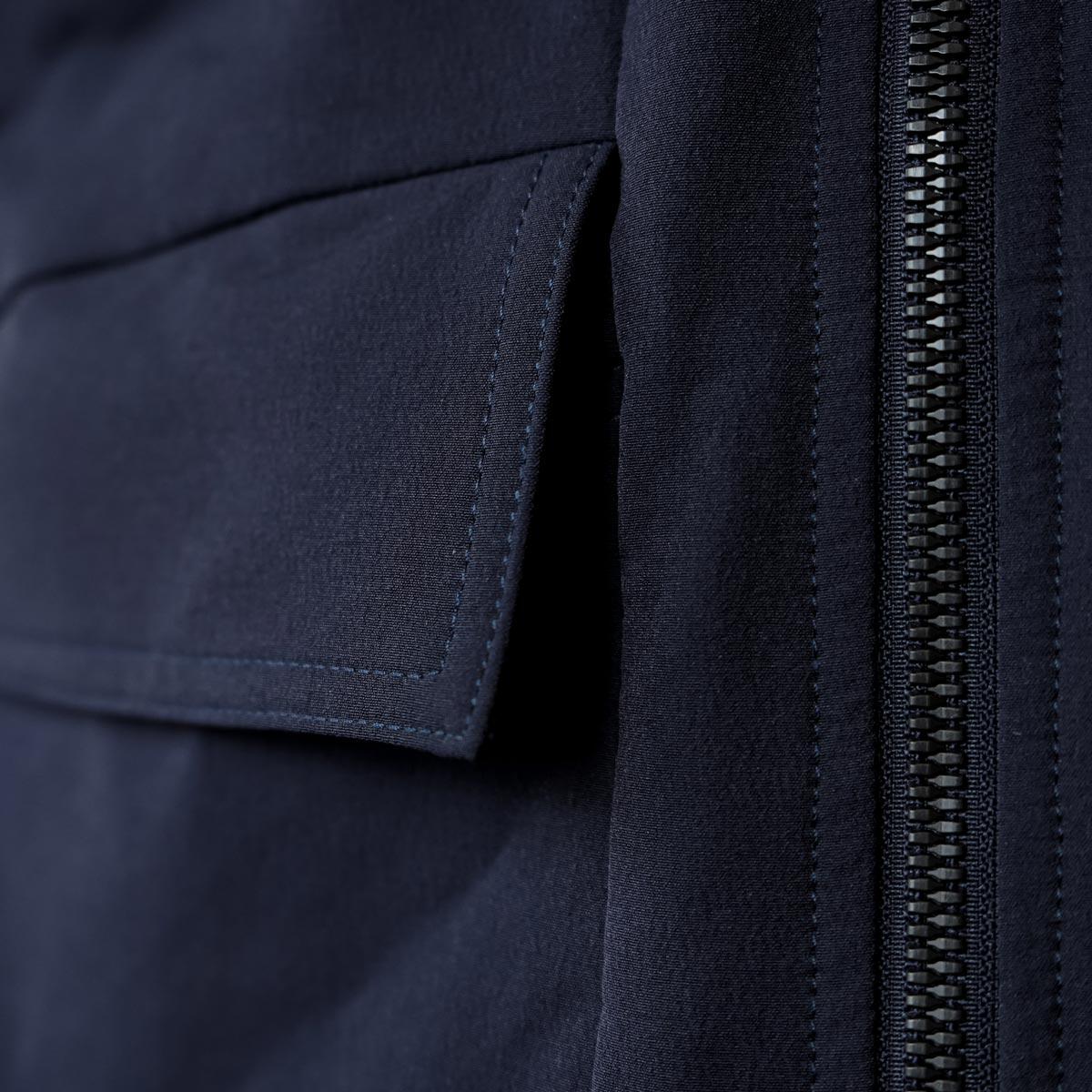 Arbetsjacka - detalj ficka och dragkedja