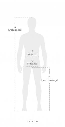 Storlekstabell modell - midjemått, innebenslängd, kroppslängd och stussvidd